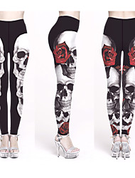 cheap -Women's Yoga Pants Winter Sugar Skull Black Black / Red Rainbow Lycra Fitness Gym Workout Leggings Bottoms Sport Activewear Breathable Quick Dry Soft Stretchy Skinny