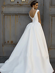 cheap -A-Line Wedding Dresses Bateau Neck Court Train Polyester Cap Sleeve with 2020