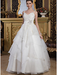 cheap -Ball Gown Wedding Dresses V Neck Floor Length Lace Organza Satin Spaghetti Strap with Sashes / Ribbons Beading Cascading Ruffles 2020