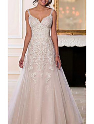 cheap -A-Line V Neck Sweep / Brush Train Chiffon / Tulle Spaghetti Strap Romantic Illusion Detail / Backless Wedding Dresses with Beading / Appliques 2020