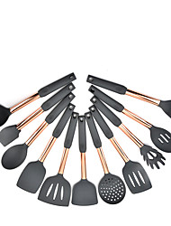 cheap -New Cooking Tools Kitchen Utensils 11pcs Set Rose Gold Stainless Steel Handle Silicone Non-stick Pan Heat Resistant Kitchen Tools