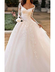 cheap -A-Line Wedding Dresses Bateau Neck V Neck Court Train Lace Tulle Long Sleeve Illusion Sleeve with Lace Insert Embroidery 2021