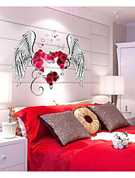 cheap -SK9089 heart-shaped rose feather bedroom living room TV wall background decoration removable wall sticker