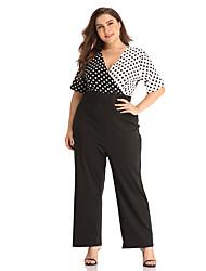 cheap -Women's Basic / Sophisticated Black Jumpsuit Onesie, Polka Dot L XL XXL