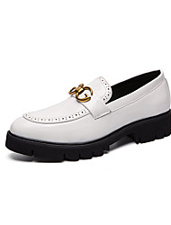 cheap -Men's Formal Shoes PU Spring & Summer / Fall & Winter Casual / British Loafers & Slip-Ons Black / White / Party & Evening