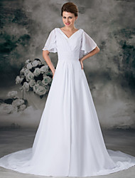 cheap -A-Line V Neck Chapel Train Chiffon / Satin Short Sleeve Made-To-Measure Wedding Dresses with Beading / Ruched 2020 / Butterfly Sleeve