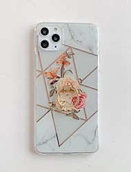 cheap -Case for Apple scene map iPhone 11 11 Pro 11 Pro Max X XS XR XS Max 8 Rhombus plating flowers pattern inner and outer plating ring bracket TPU material IMD process all-inclusive mobile phone case