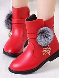 cheap -Girls' Comfort PU Boots Little Kids(4-7ys) Black / Burgundy / Red Winter / Mid-Calf Boots