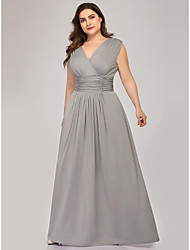 cheap -A-Line V Neck Floor Length Polyester / Spandex Sleeveless Plus Size Mother of the Bride Dress with Draping / Ruching 2020