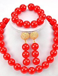 cheap -Women's Bridal Jewelry Sets Beads Ball Love Happy Ethnic Fashion Africa Earrings Jewelry Black / White / Purple For Wedding Party Engagement Daily Festival 1 set
