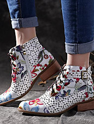 cheap -Women's Boots Print Shoes Chunky Heel Pointed Toe PU Booties / Ankle Boots Summer Black / Red