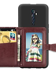cheap -Case For OPPO Oppo F11 Pro Card Holder / with Stand / Ultra-thin Back Cover Solid Colored PU Leather / TPU