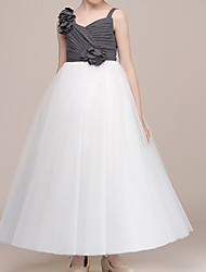 cheap -Ball Gown Floor Length Pageant Flower Girl Dresses - Polyester Sleeveless Spaghetti Strap with Color Block