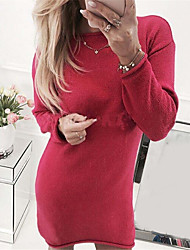 cheap -Women's Sweater Dress - Solid Colored White Blushing Pink Red S M L XL