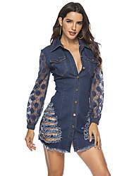 cheap -Women's Sheath Dress - Solid Colored Blue M L XL XXL