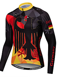 cheap -21Grams Germany National Flag Men's Long Sleeve Cycling Jersey - Black / Red Bike Jersey Top UV Resistant Breathable Moisture Wicking Sports Winter Fleece Polyester Elastane Mountain Bike MTB Road
