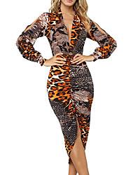 cheap -Women's Going out Casual / Daily Street chic Punk & Gothic A Line Bodycon Sheath Dress - Geometric Leopard Patchwork Print Khaki S M L XL