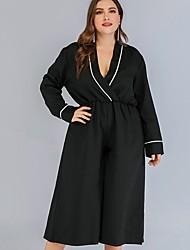 cheap -Women's Basic V Neck Black Wide Leg Jumpsuit Onesie, Solid Colored Patchwork L XL XXL