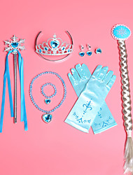 cheap -Elsa Gloves Necklace Masquerade Girls' Movie Cosplay A-Line Slip Cosplay Halloween Purple / Yellow / Blue Hair Jewelry Gloves Crown Halloween Carnival Masquerade Alloy / Earrings / Wand / Bracelets