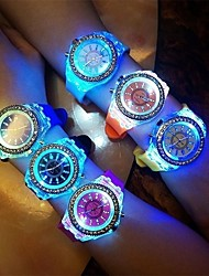 cheap -Women's Quartz Watches Fashion Black White Blue Silicone Quartz Black White Sky Blue Luminous LED Light Casual Watch Analog