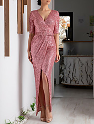 cheap -Sheath / Column Sparkle & Shine Formal Evening Dress Plunging Neck Half Sleeve Ankle Length Sequined with Sash / Ribbon Split Front 2020