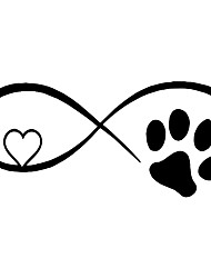cheap -Car Sticker Vinyl 17.8*7.7CM Dog Cat Paw Love Car Window Stickers and Decals Funny 3D Stickers On Car Styling Creative Decals