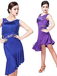 cheap -Women's Flapper Girl Latin Dance Flapper Dress Party Costume Tassel Sequins Flapper Costume Sequin Polyster Black Purple Fuchsia Dress