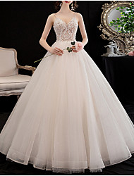 cheap -A-Line V Neck Floor Length Lace Spaghetti Strap Wedding Dresses with Lace Insert / Appliques 2020