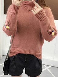 cheap -Women's Floral Long Sleeve Pullover Sweater Jumper, High Neck White / Blushing Pink / Yellow One-Size
