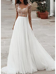 cheap -A-Line Wedding Dresses V Neck Floor Length Tulle Long Sleeve Romantic Beach Boho See-Through Illusion Sleeve with Beading Embroidery 2020