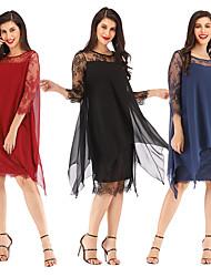 cheap -Women's Asymmetrical Shift Dress Black Wine Blue S M L XL