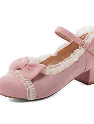 cheap -Women's Heels Chunky Heel Round Toe Bowknot Suede Sweet / British Spring &  Fall Black / Pink / Beige