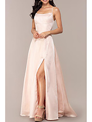 cheap -A-Line Minimalist Pink Prom Formal Evening Dress Scoop Neck Sleeveless Sweep / Brush Train Satin with Split Front 2020