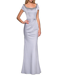 cheap -Sheath / Column Square Neck Floor Length Satin Short Sleeve Elegant & Luxurious Mother of the Bride Dress with Beading 2020