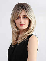 cheap -Synthetic Wig Bangs Natural Straight Side Part With Bangs Wig Long Light Blonde Synthetic Hair 20 inch Women's Cosplay Women Synthetic Blonde Ombre HAIR CUBE / Ombre Hair