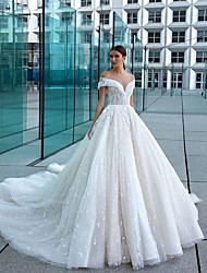 cheap -Ball Gown Off Shoulder Court Train Lace / Tulle Short Sleeve Glamorous Sparkle & Shine / Illusion Detail Wedding Dresses with 2020