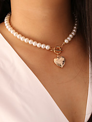 cheap -Women's Pendant Necklace Necklace Classic Heart Dainty Classic Trendy Fashion Imitation Pearl Chrome Gold 40 cm Necklace Jewelry 1pc For Gift Daily Holiday School Festival / Pearl Necklace