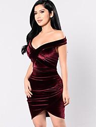 cheap -Women's Bodycon Dress - Solid Colored Wine S M L XL