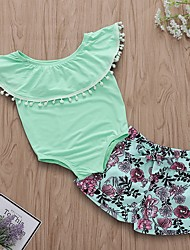 cheap -Baby Girls' Basic Floral Sleeveless Regular Clothing Set Green