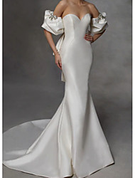 cheap -Mermaid / Trumpet Sweetheart Neckline Court Train Charmeuse Short Sleeve Modern Wedding Dresses with Bow(s) / Ruched 2020