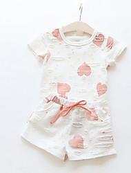 cheap -Toddler Girls' Basic Geometric Short Sleeve Clothing Set Blue