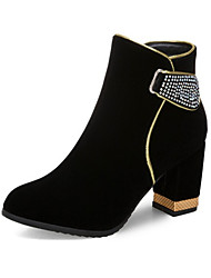 cheap -Women's Boots Chunky Heel Round Toe Rhinestone Suede Booties / Ankle Boots Classic / Minimalism Fall & Winter Black / Red / Party & Evening