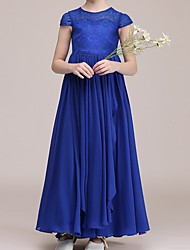 cheap -A-Line Ankle Length Pageant Flower Girl Dresses - Polyester Cap Sleeve Jewel Neck with Lace
