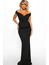 cheap -Women's Daily Wear Basic Sheath Dress Maxi - Solid Colored Ruffle Black Blue S M L XL