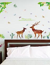 Недорогие -sk9176 завод зеленых листьев оленей и бабочек гостиная вход спальня телевизор фон декоративные наклейки