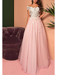 cheap -A-Line Open Back Prom Dress Off Shoulder Short Sleeve Floor Length Lace Tulle with Pleats Appliques 2020