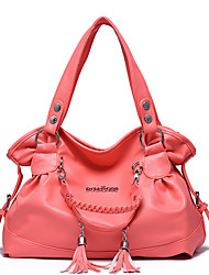 cheap -Women's Tassel Faux Leather / PU Tote Leather Bags Solid Color Watermelon Red / Red Brown / Black / Fall & Winter