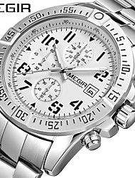 cheap -MEGIR Men's Steel Band Watches Quartz Formal Style Modern Style 30 m Water Resistant / Waterproof Calendar / date / day Three Time Zones Analog Casual Fashion - Black Black / Silver Silver