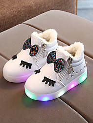 cheap -Girls' Boots First Walkers PU LED Shoes Little Kids(4-7ys) Bowknot Sparkling Glitter LED White Black Red Spring Fall / Booties / Ankle Boots / Party & Evening / Rubber