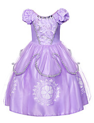 cheap -Sofia Dress Masquerade Flower Girl Dress Girls' Movie Cosplay A-Line Slip Cosplay Vacation Dress Purple Dress Halloween Carnival Masquerade Tulle Polyster